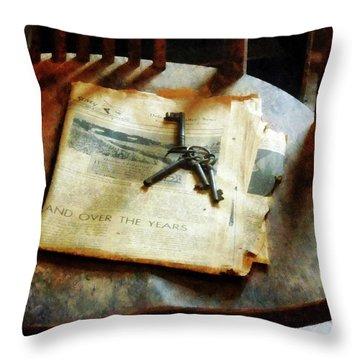 Antique Keys On Newspaper Throw Pillow by Susan Savad