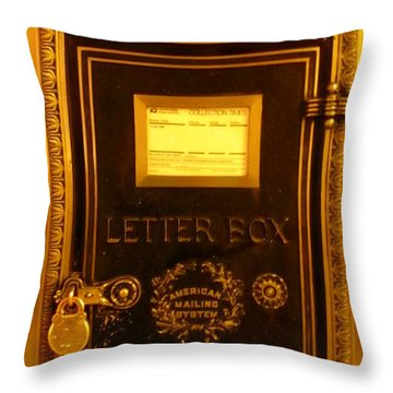 Antique Letter Box At The Brown Palace Hotel Throw Pillow by John Malone