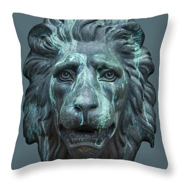 Antique Lion Face In Blue Throw Pillow