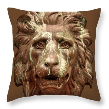 Antique Lion Face In Brown Throw Pillow