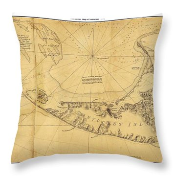 Throw Pillow featuring the painting Antique Map Of Nantucket by Celestial Images
