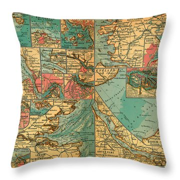 Antique Map Of The Baltic And North Sea Ports  Throw Pillow