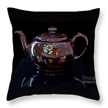 Antique Native American Teapot On Black Art Prints Throw Pillow