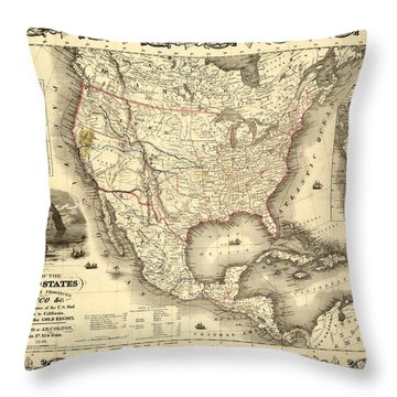 Antique North America Map Throw Pillow