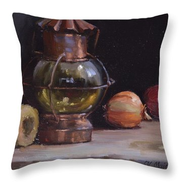 Antique Old Lantern And Onions Throw Pillow