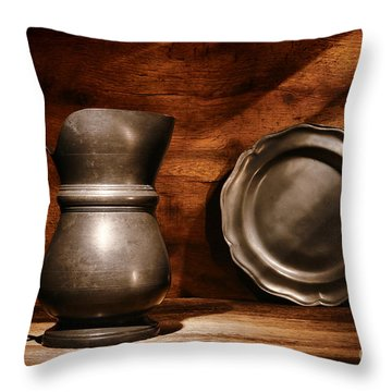 Antique Pewter Pitcher And Plate Throw Pillow by Olivier Le Queinec