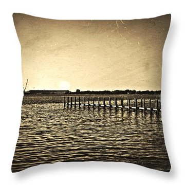 Antique Photo Of Pier  Throw Pillow by Susan Leggett