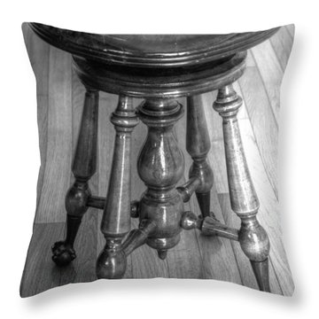 Antique Piano Stool In Monochrome Throw Pillow by Jim Sauchyn