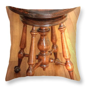 Throw Pillow featuring the photograph Antique Piano Stool  by Jim Sauchyn