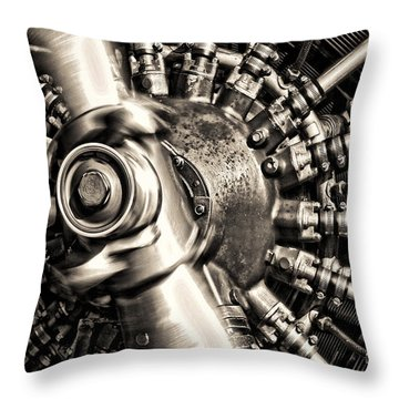 Antique Plane Engine Throw Pillow