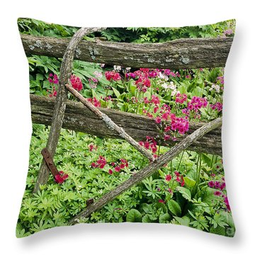 Throw Pillow featuring the photograph Antique Plow Handles by Alan L Graham