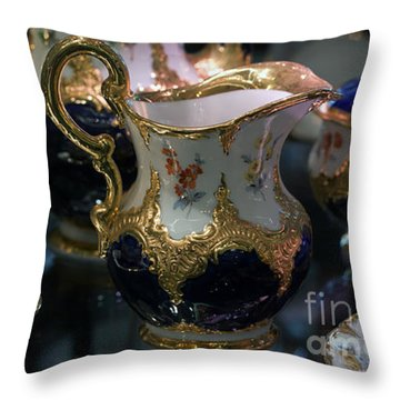 Throw Pillow featuring the photograph Antique Porcelain Coffee Set In Show Case by Gunter Nezhoda