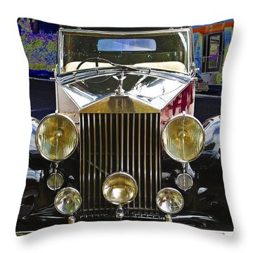 Throw Pillow featuring the digital art Antique Rolls Royce by Victoria Harrington