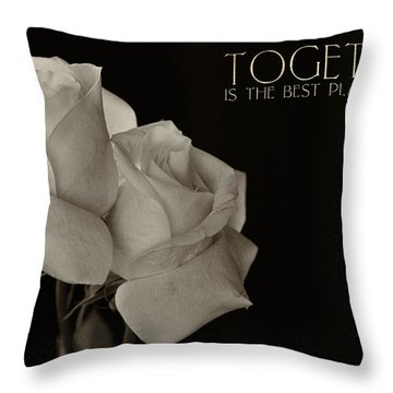 Antique Roses With Message Throw Pillow
