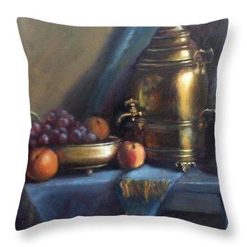 Antique Russian Samovar For Tea Enthusiasts Throw Pillow
