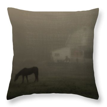 Antique Scene Of Horses In A Fog Throw Pillow by Mick Anderson