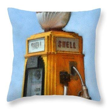 Antique Shell Gas Pump Throw Pillow