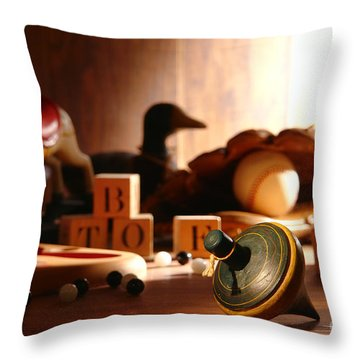 Antique Spinning Top Throw Pillow by Olivier Le Queinec