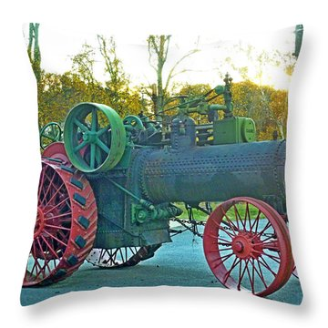 Throw Pillow featuring the photograph Antique Steam Tractor by Pete Trenholm