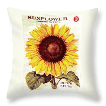 Antique Sunflower Seeds Pack Throw Pillow