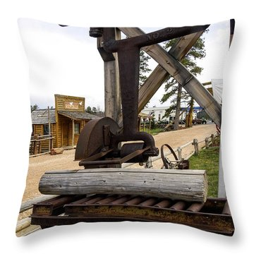 Throw Pillow featuring the photograph Antique Table Saw Tool Wood Cutting Machine by Paul Fearn