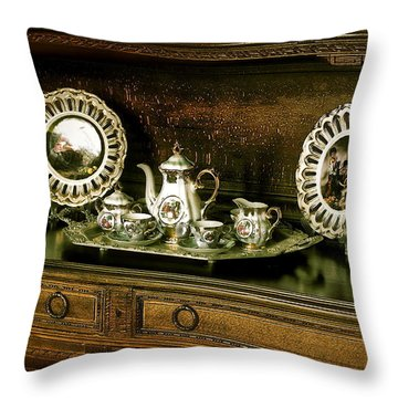 Antique Tea Set Throw Pillow by The Art of Alice Terrill