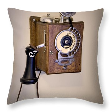 Throw Pillow featuring the photograph Antique Telephone by David Millenheft