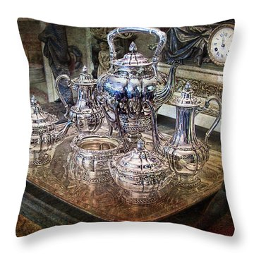 Throw Pillow featuring the photograph Antique Tiffany Sterling Silver Coffee Tea Set by Gunter Nezhoda