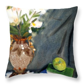 Antique Vase And Flower Throw Pillow