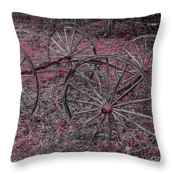 Throw Pillow featuring the photograph Antique Wagon Wheels by Sherman Perry