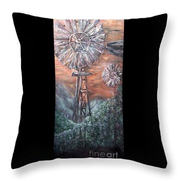 Antique Windmills At Dusk Throw Pillow by Eloise Schneider
