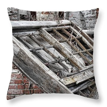 Antique Wood Window Throw Pillow