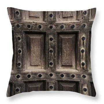Antique Wooden Door Closeup Throw Pillow