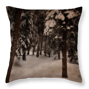 Antique Woodscape Throw Pillow