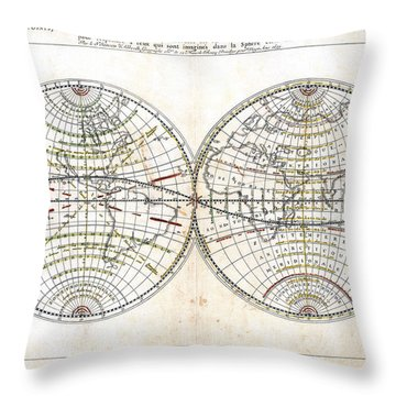 Antique World Map Harmonie Ou Correspondance Du Globe 1659 Throw Pillow by Karon Melillo DeVega