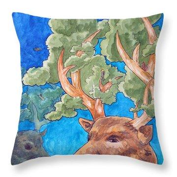 Antler Ecosystem Throw Pillow