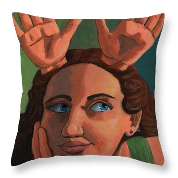 Antlered Girl Throw Pillow by Whitney Morton
