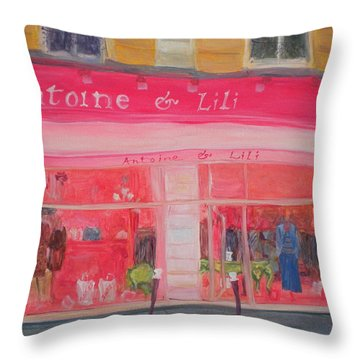 Antoine & Lili, 2010 Oil On Canvas Throw Pillow