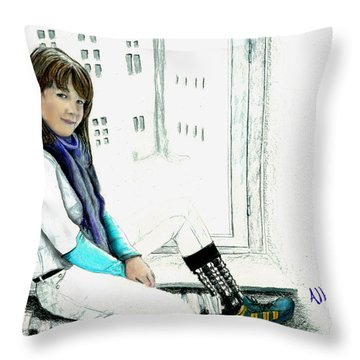 Throw Pillow featuring the drawing Antonela In The Window by Albert Puskaric