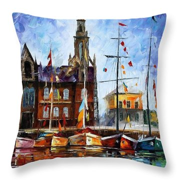 Antwerp - Belgium Throw Pillow by Leonid Afremov