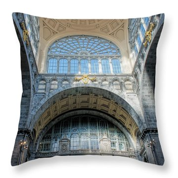 Antwerp Central Station Throw Pillow