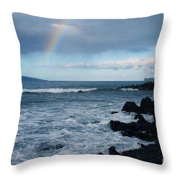 Anuenue - Rainbow Over  Alalakeiki Channel Kihei Maui Hawaii Throw Pillow by Sharon Mau