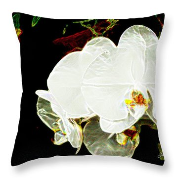 Aos White Orchid 1 Throw Pillow