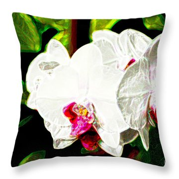 Aos White Orchid 2 Throw Pillow