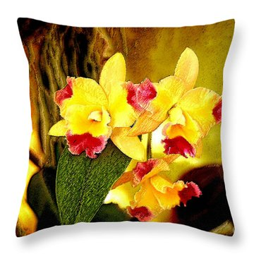Aos Yellow Orchid 1 Throw Pillow