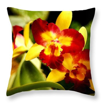 Aos Yellow Orchid 2 Throw Pillow
