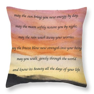 Apache Blessing With Sunset Throw Pillow
