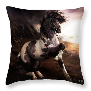 Equine Digital Art Throw Pillows