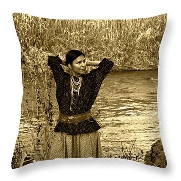 Apache River Maiden Throw Pillow