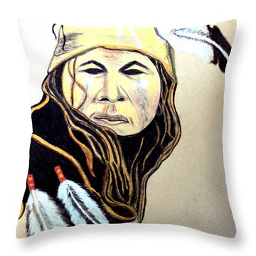 Apache Warrior Throw Pillow by Ayasha Loya